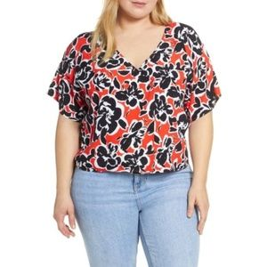 LEITH Double Button Floral Blouse Red Black 2X